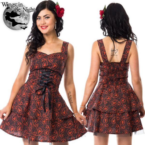 ROCKABELLA Ladies Gothic Black and Red Paisley Dress